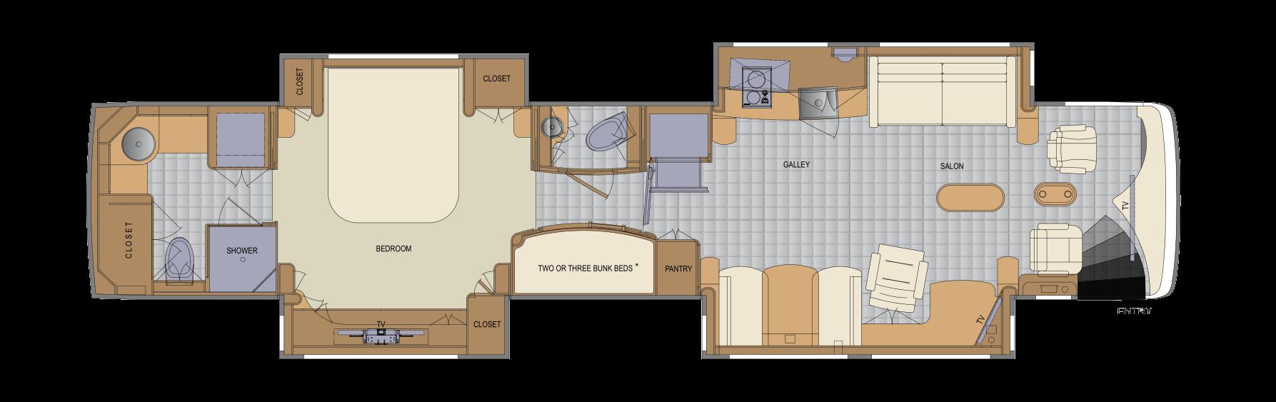 100 California Split Floor Plan Studio 1 U0026 2